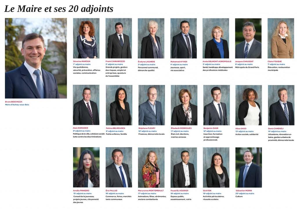 Le Maire et ses 20 adjoints - Avril 2014 - Aulnay-sous-Bois