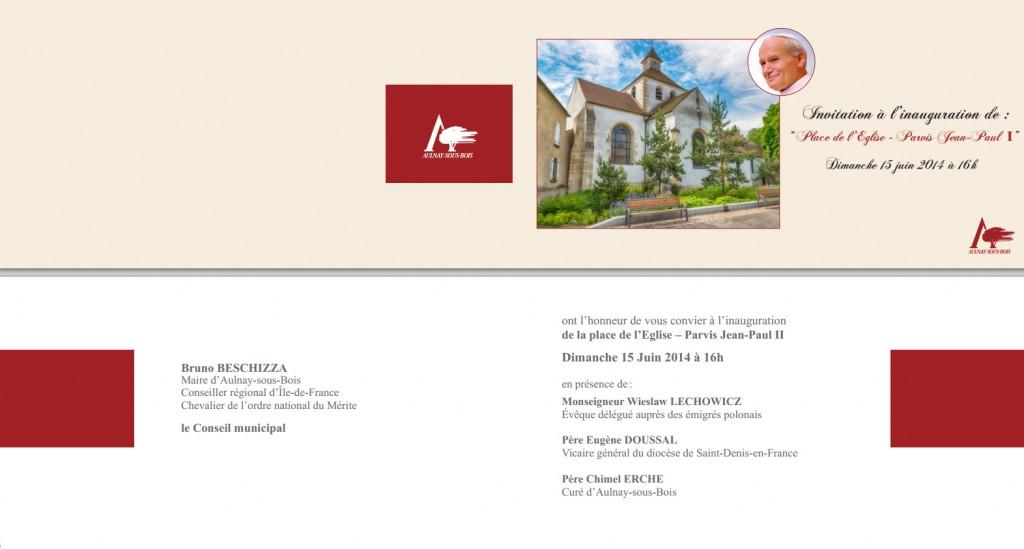 Inauguration place de l'Eglise - Parvis Jean-Paul II Aulnay-sous-Bois