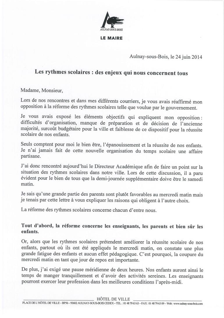 Lettre du maire rythmes scolaires BBZ juin 2014