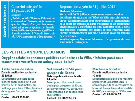 Oxygène Aulnay-sous-Bois Courrier + Annonces - Mairie