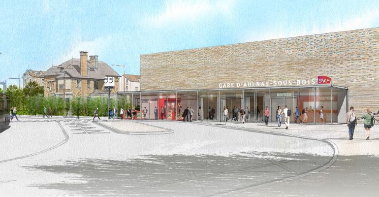 La réfection des façades extérieures de la gare prévoit un revêtement en briques et meulières. | (C) DR