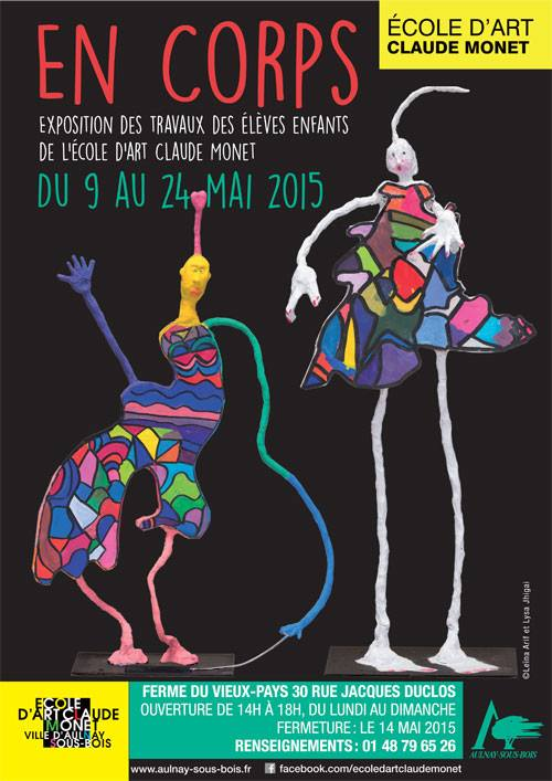 """Affiche de l'exposition de l'EACM """"En corps"""" du 9 au 24 Mai 2015"""