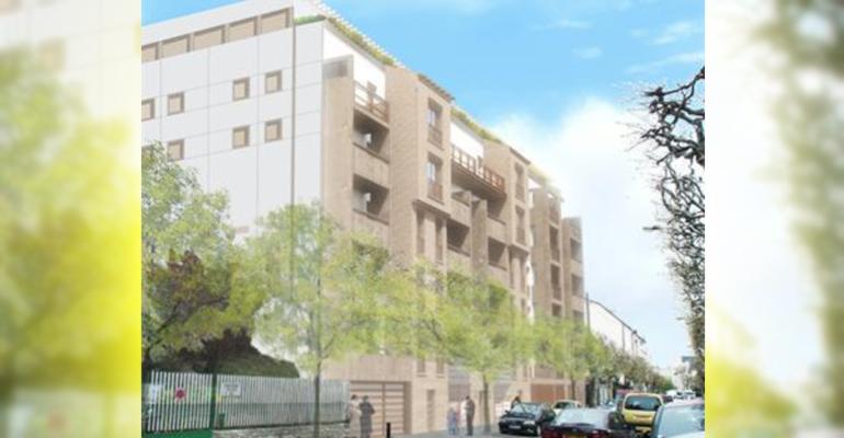 Une majeure partie de la façade de l'édifice sera en bois. | (C) Cabinet Marlier