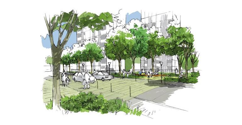 Les chemins de Mitry-Princet est un vaste plan de réaménagement des quartiers Mitry et Ambourget visant à créer des logements et une maison des services publics notamment. | (C) Deltaville