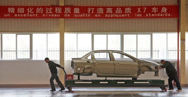 Usine Dongfeng  et PSA implantée à Wuhan, dans le centre-est de la Chine.   (C) Qilai SHEN/SINOPIX-REA/Qilai SHEN/SINOPIX-REA