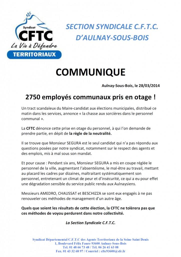 Communiqué CFTC Segura sorcier municipales aulnay 2014 mun93600