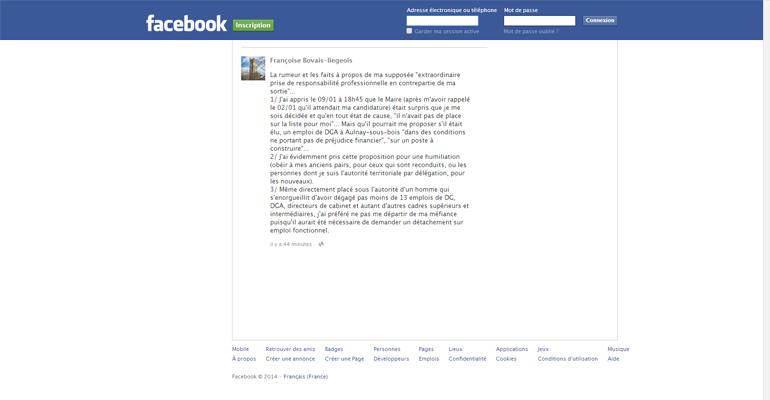 Dans son message d'une quinzaine de lignes, l'adjointe raconte les promesses qu'elle a refusé.   (C) Capture Facebook