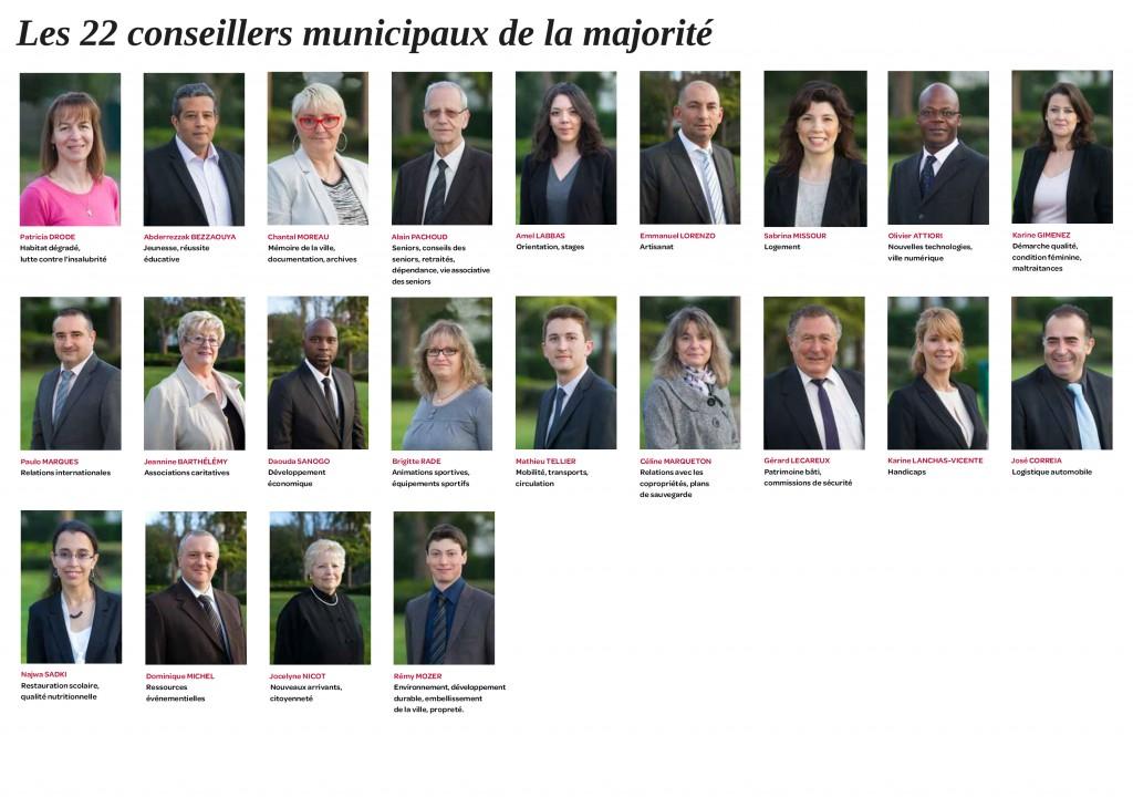 Les vingt-deux autres conseillers municipaux de la majorité - Avril 2014 - Aulnay-sous-Bois