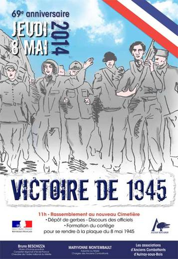 Affiche célébration 2014 du 8 mai 1945 - Mairie d'Aulnay-sous-Bois