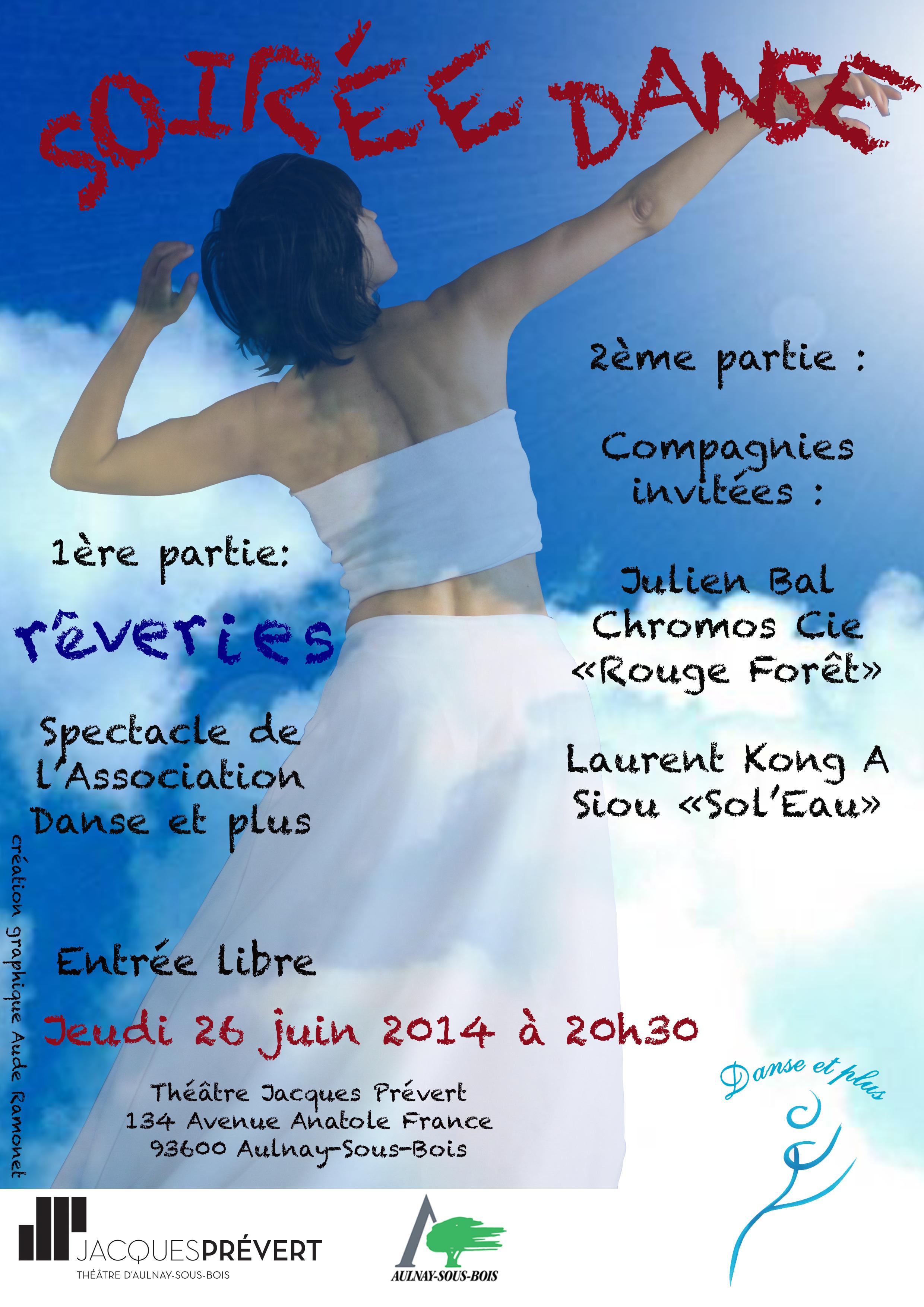 Affiche REVERIES Danse et plus 2014 Aulnay-sous-Bois