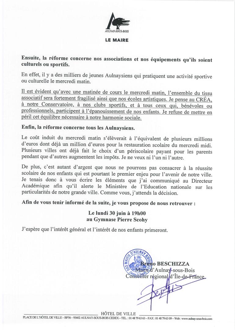 Lettre du maire rythmes scolaires 2 BBZ juin 2014