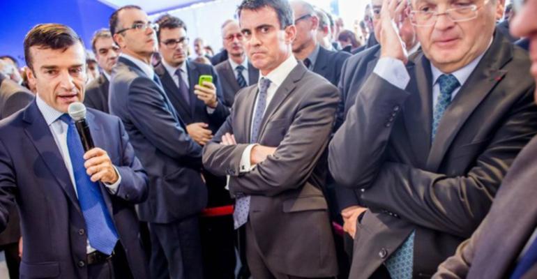 Manuel Valls, lundi à Créteil, pour la signature d'une cession de terrains destinés à la construction d'une gare du métro Grand Paris Express. | (C) Laurent Troude